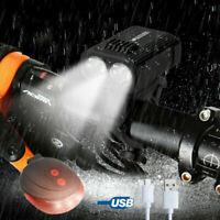 Luz delantera bicicleta USB recargable con soporte + luz trasera advertencia AC