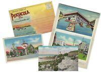 LOT of 3 Pensacola Florida VINTAGE POSTCARDS & BOOK