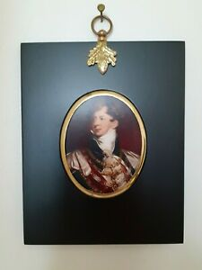Portrait Miniature of King George IV with chains in an acorn hanger black frame