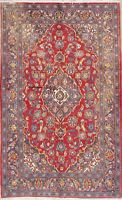 RED 4X6 Traditional Floral Area Rugs Hand-Knotted Red & Blue Wool Carpet