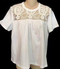 677e2c9c2e208b Chloe Top Milk White Embroidered Short Sleeve Size S