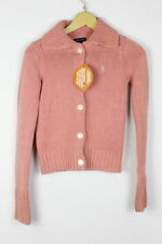Womens RALPH LAUREN Cardigan BUTTON UP Cable KNIT Sweater SLIM Pink XL  P1