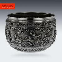 ANTIQUE 20thC BURMESE MAUNG YIN MAUNG SOLID SILVER BOWL, RANGOON c.1900