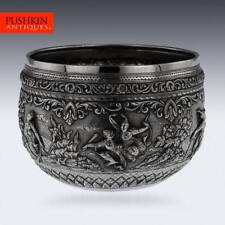 More details for antique 20thc burmese maung yin maung solid silver bowl, rangoon c.1900