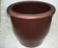 Large Antique Brown Crock Primitive Stoneware