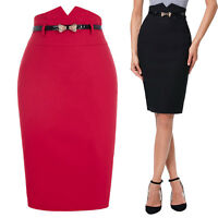 Womens High Waist Slim Fit Office Evening Party Pencil Skirt with Belt Black Red