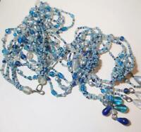 Multi Strand Vintage Blue Mix Long Beaded Necklace, Tassels