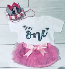 Baby Girls Cake Smash First 1st Birthday Outfit Tutu Knickers Pink Crown Set