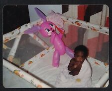 Vintage Photograph Cute African American Baby in Playpen w/ Pink Blowup Bunny