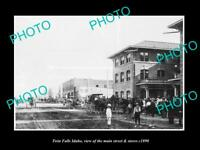 OLD POSTCARD SIZE PHOTO OF TWIN FALLS IDAHO THE MAIN STREET & STORES c1890