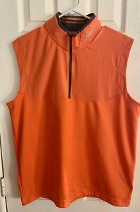 Nike Golf Tour performance pullover light zip size L sport golf orange vest