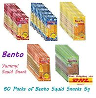 60 Pcs X 5g BENTO SQUID SNACK DELICIOUS ALL SWEET SPICY FLAVOR THAI DRIED FOOD