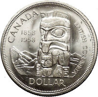 1958 Canada British Columbia Centennial Totem Pole Large Silver Coin i53077