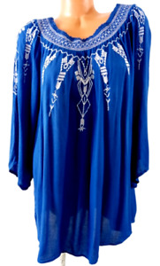 Terre bleue blue embroidered ruched trim women's 3/4 sleeve plus top XXL