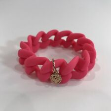 Marc By Marc Jacobs Pink Rubber Bracelet with Gold Turnlock Charm Stretchy