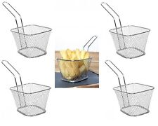 4 x Mini Chip Pan Fryer Fries Serving Baskets With Handle Serving Presentation