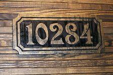 Large Address Sign Antique Brass Finished Wood Custom Carved Plaque