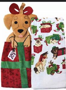 NWT ST NICHOLAS SQUARE Christmas Puppy Dogs Tie Top 2pk Cotton Kitchen Towel Set