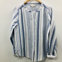 Ann Taylor LOFT Womens Sz Small Long Sleeve Button Down Blouse Blue Striped SW2