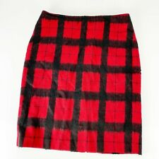 Talbots 10 Wool Lined Plaid Skirt Red Black Career Winter Warm Holiday