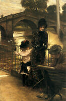"""Nice Oil painting Tissot - By the Thames at Richmond lady with child canvas 36"""""""