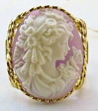 Grecian Goddess Cameo Ring 14k Rolled Gold Lavender
