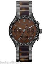 NEW-DKNY GUNMETAL GRAY S STEEL,TORTOISE SHELL,CHRONOGRAPH+CRYSTALS WATCH-NY8668