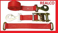 2X RED 4METER RECOVERY WHEEL STRAPS (SNAPHOOKS) & (LINK-STRAPS)