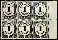 #O47 1c Black 1873 Post Office Official Margin Block of 6 XF *MNH*