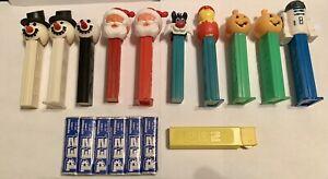 Lot of 11 Pez Dispensers: Sylvester, Yellow Dispenser, Snowman, Santa, Pumpkin
