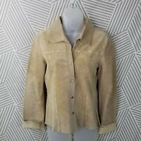 Vintage size Small Medium Top Shirt Jacket Suede Leather Pearl Snap Western Tan