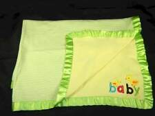 """New listing Carters Green & White Baby Chicks 100% Cotton Infant Baby Blanket """"Baby"""""""