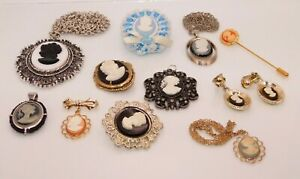 Lot of Modern Cameo Jewelry Necklaces Pendants Brooch Earrings Stick Pin