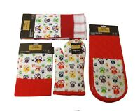 3 Piece Set Single Owl Kitchen Apron Towel Double Oven Mitten Cooking Baking UK
