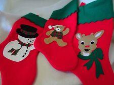 SET OF 3 RED/GREEN FELT CHRISTMAS STOCKINGS-NEW-REINDEER/SNOWMAN/GINGERBREAD MAN