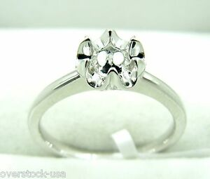 Solid Platinum 900 Floral 6 Prongs Engagement Ring Setting / Mounting
