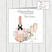 """Open Wedding Anniversary Card Pink Flowers /& Hearts 9/"""" x 6/"""" Champagne Flutes"""