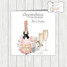 Personalised Wedding Anniversary Card Pink Champagne Wife Husband Brother Sister