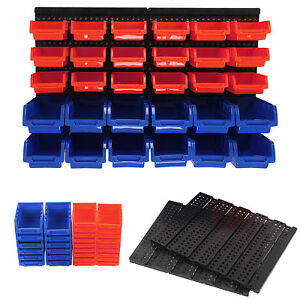 30 X Plastic Bins Wall Mounted Storage Garage Tools Small Parts Organizer Rack