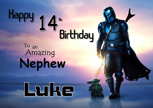 The Mandalorian Star Wars Personalised A5 birthday card -ANY- AGE RELATION NAME