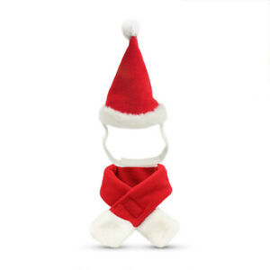 Allacki Christmas Cat Red Hat Scarf Suit Small Pets X-mas Costumes Accessories