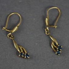 Antike Ohrringe mit mit blauem Stein - Gold 333 (# 11412)