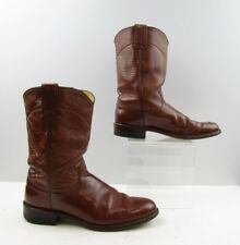 Ladies Justin Brown Leather Roper Cowboy Western Boots Size: 7.5 A *NARROW