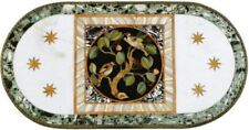 3'x2' white center coffee marble table top inlay malachite home decor c13