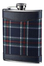 Blue alcohol whiskey Hip Flask Stainless Steel with Tartan in Green Color - 8oz