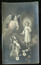 ANTIQUE HOLY CARD OF COMMUNION GIRL WITH JESUS AND ANGEL