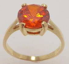 14K YELLOW GOLD 10 MM ROUND SYNTHETIC PADPARADSCHA SAPPHIRE SOLITAIRE RING SZ 10