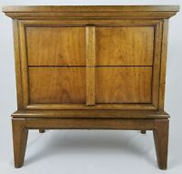 Mid-Century Brutalist Style End Table Nightstand Walnut Vintage Dixie Furniture