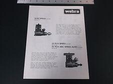 VINTAGE 1980 WEBRA 20 RC 20 RCA SPEED MODEL ENGINE AD SHEET 2-SIDED *VG-COND*