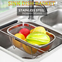 Kitchen Stainless Steel Dish Drying Rack Telescopic Sink Drain Baske